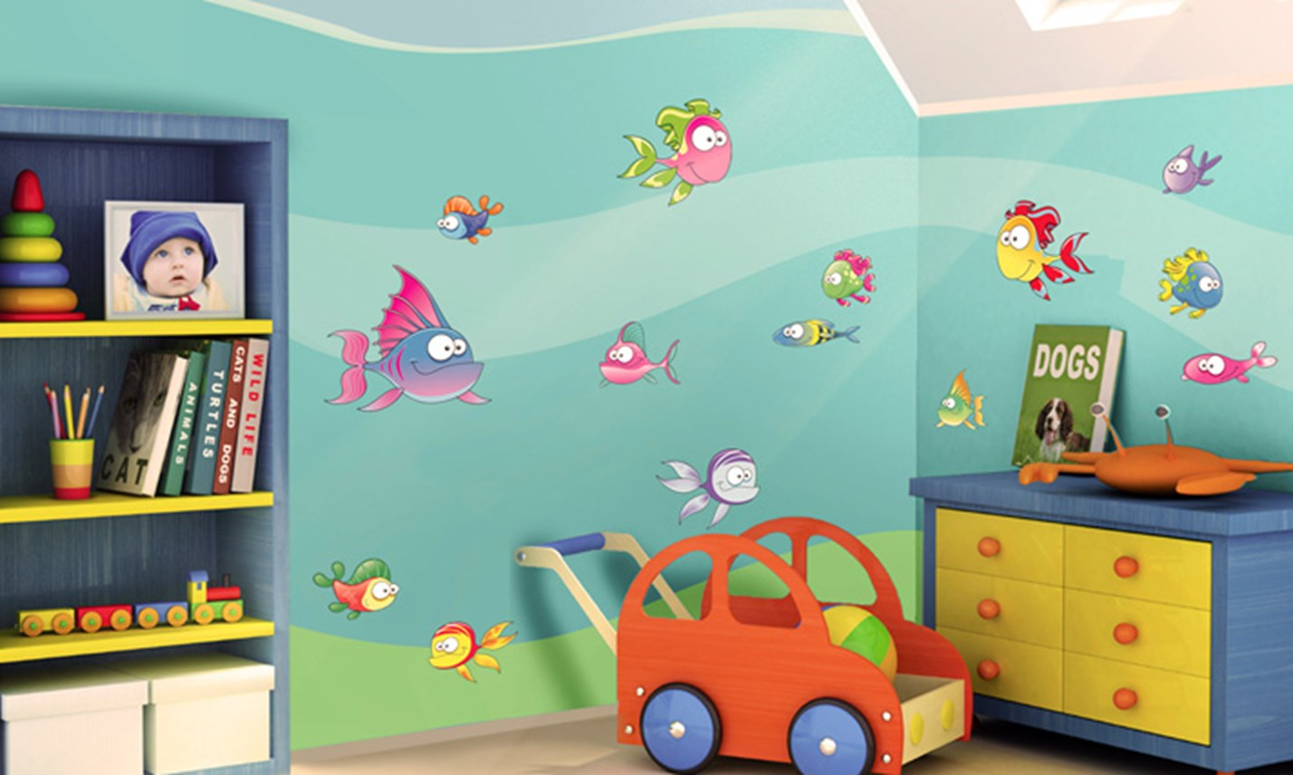 Stickers murali bambini cameretta tra i pesciolini - Stickers cameretta bambino ...